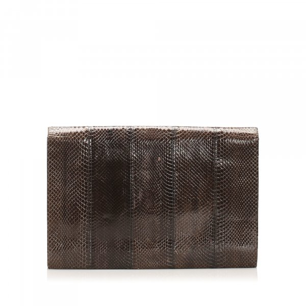 Yves Saint Laurent Borsa clutch marrone scuro Pelle di rettile
