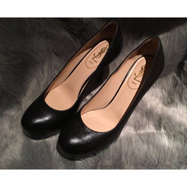 YSL Yves SAINT LAURENT Pumps Gr. D 37,5 Schwarz Damen Schuhe Tribtoo High Heels