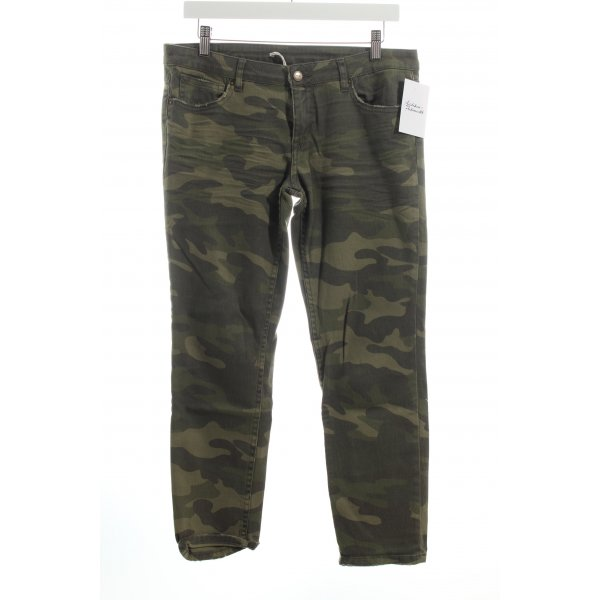 Zara 7/8 Jeans khaki Camouflagemuster Used-Optik