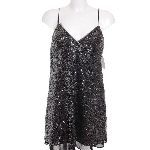 Zara Robe trapèze argenté-noir style festif