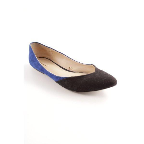 Zara Ballerinas mit Spitze schwarz-blau Business-Look