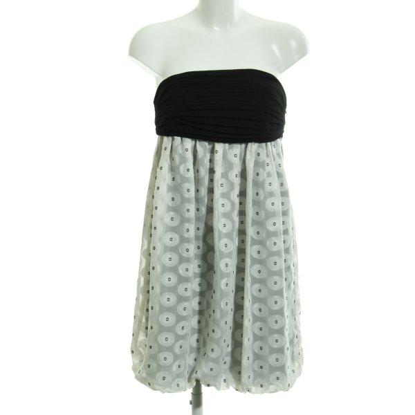 Zara Basic Bandeaukleid schwarz-weiß Punktemuster Elegant