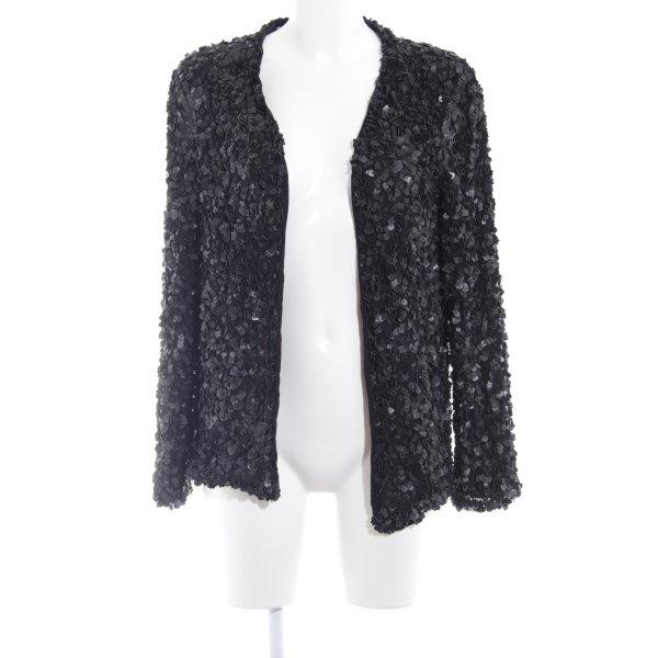 Zara Basic Cardigan noir motif abstrait style décontracté