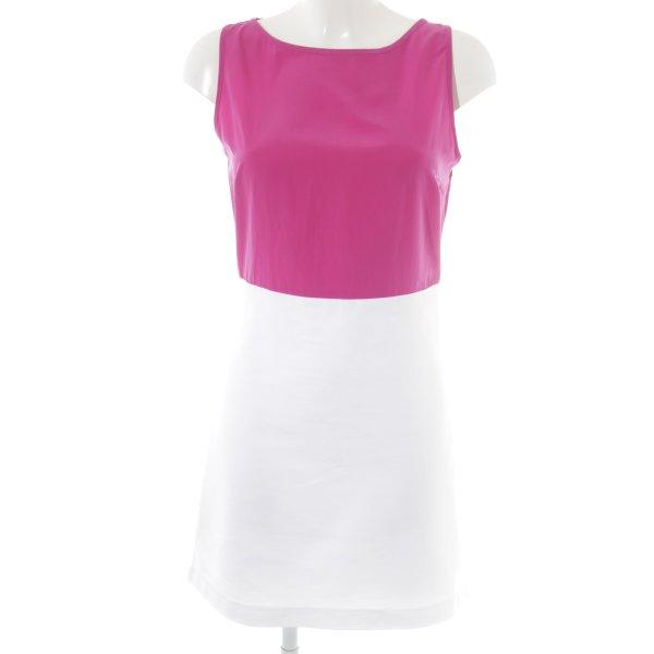 Zara Basic Etuikleid weiß-violett Business-Look