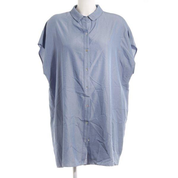 Zara Basic Hemdblusenkleid blau Jeans-Optik