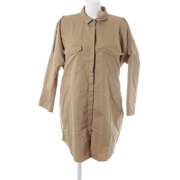 Zara Basic Hemdblusenkleid sandbraun Safari-Look