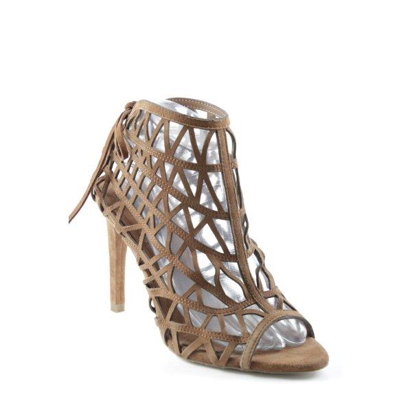 Zara Basic High Heel Sandaletten cognac grafisches Muster extravaganter Stil