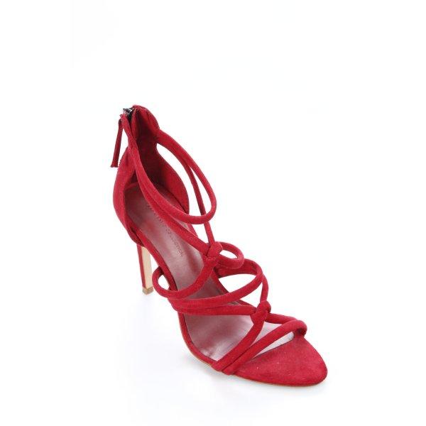 Zara Basic High Heel Sandaletten dunkelrot Party-Look