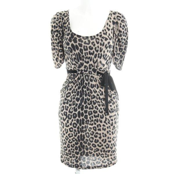 Zara Basic Jerseykleid hellbraun-schwarz Leomuster Animal-Look