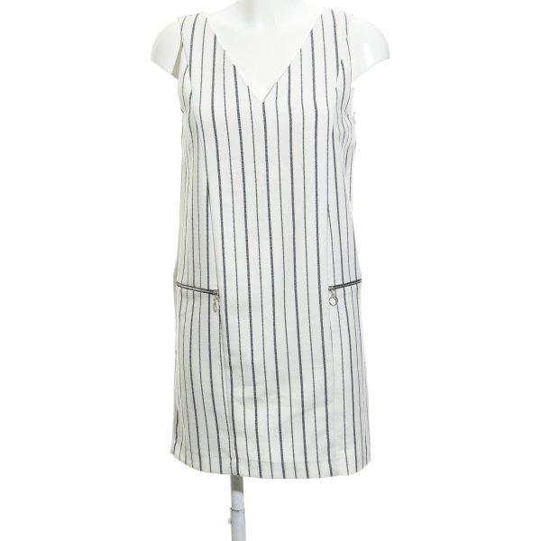 Zara Basic Jerseykleid wollweiß-schwarz Streifenmuster schlichter Stil