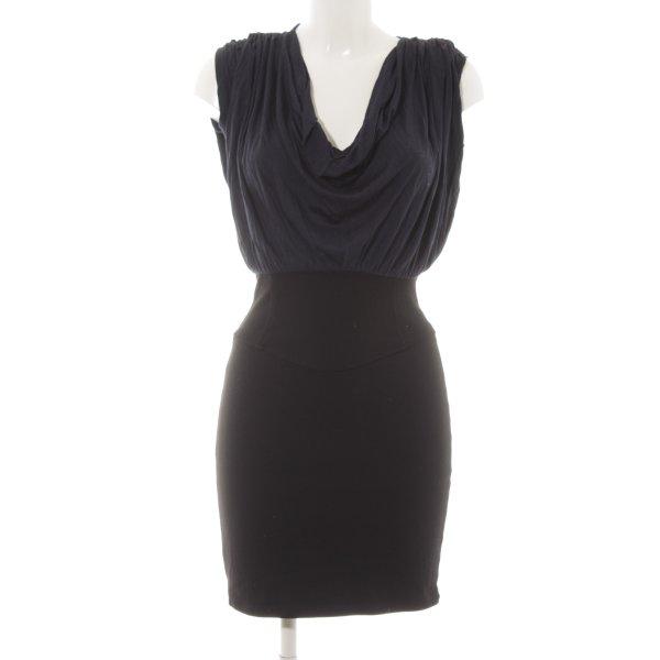 Zara Basic Kurzarmkleid blau-schwarz Elegant
