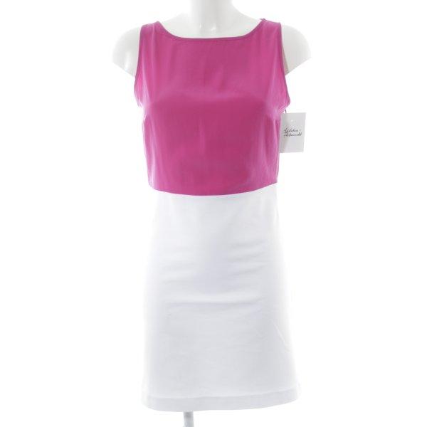 Zara Basic Kurzarmkleid pink-weiß Colourblocking Elegant