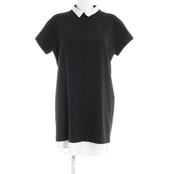 Zara Basic Kurzarmkleid schwarz-weiß klassischer Stil