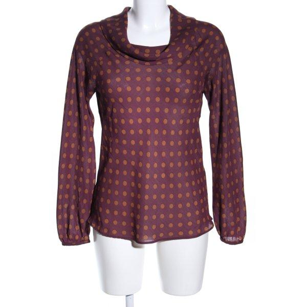 Zara Basic Langarm-Bluse rot-hellorange Punktemuster Business-Look