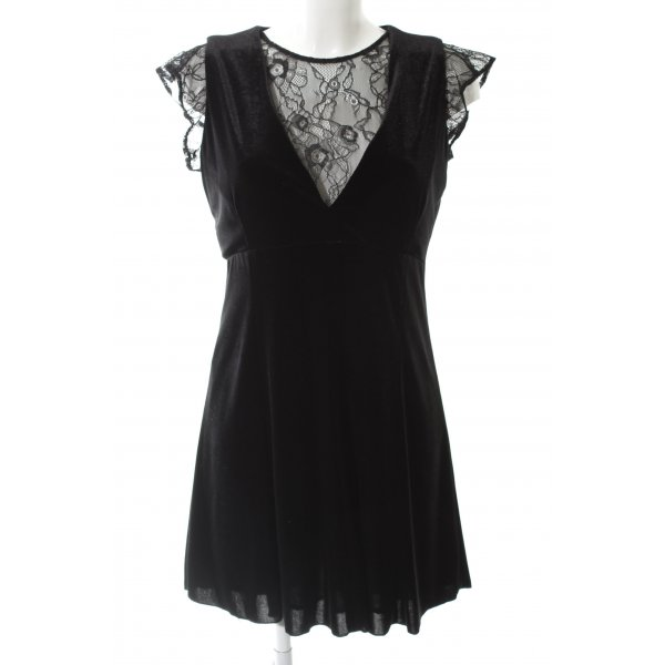 Zara Basic Minikleid schwarz Samt-Optik