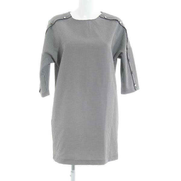 Zara Basic Minikleid schwarz-weiß Hahnentrittmuster Elegant