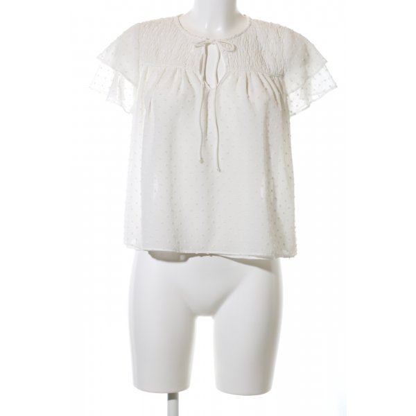Zara Basic Schlupf-Bluse wollweiß Punktemuster Casual-Look