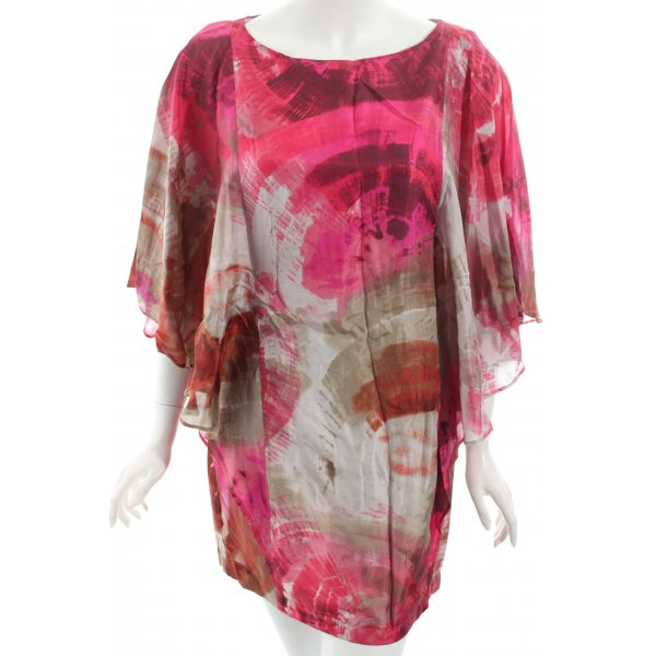 Zara Basic Shirt magenta-grau Batikmuster Casual-Look