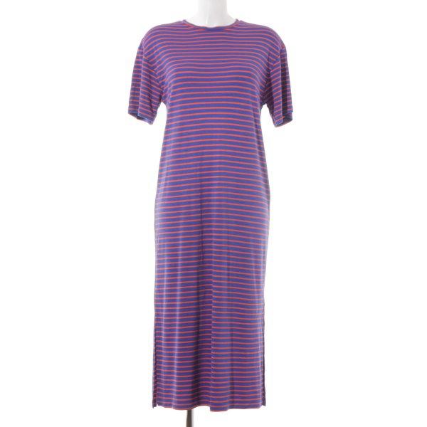 Zara Basic Shirtkleid blau-neonorange Street-Fashion-Look
