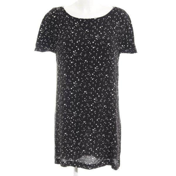 Zara Basic Shirtkleid schwarz-weiß Sternenmuster Casual-Look