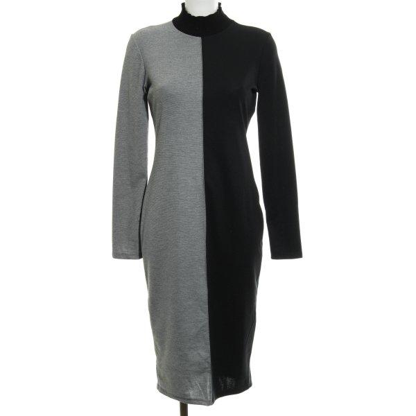 Zara Basic Stretchkleid schwarz-hellgrau meliert Casual-Look