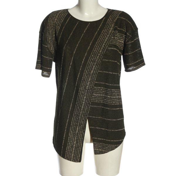 Zara Basic Strickshirt khaki-weiß Streifenmuster Casual-Look