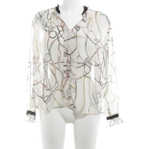 Zara Basic Transparenz-Bluse abstraktes Muster Casual-Look
