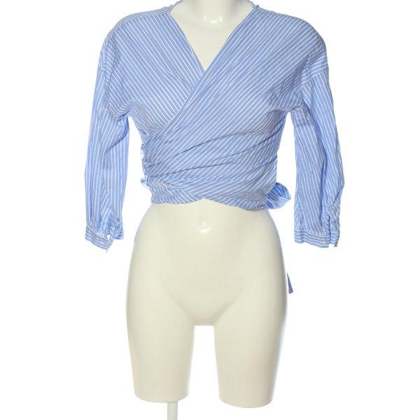 Zara Basic Wickel-Bluse blau-weiß Streifenmuster Casual-Look