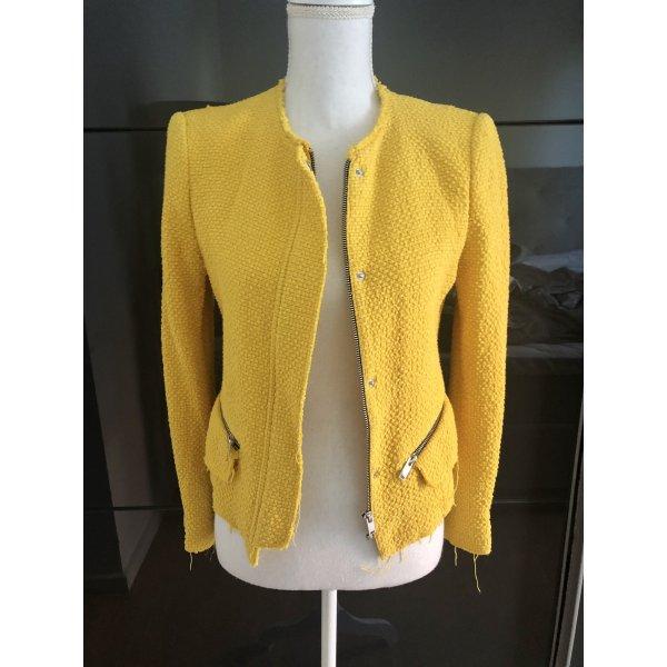ZARA Blazer Gr. S Senf Gelb Boucle Tweed