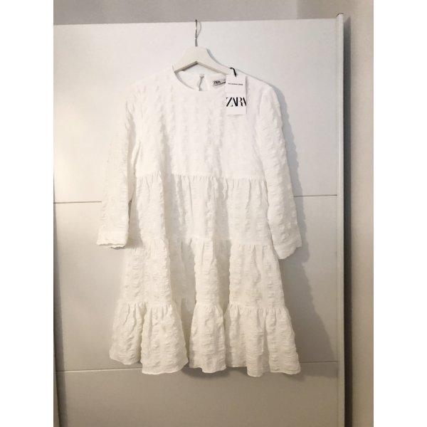 Zara Blogger Kleid mit Strukturmuster Weiß S Neu mit Etikett Weiß
