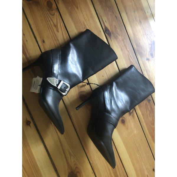 Zara Blogger Stiefel echtes Leder Boots high heels 37 neu mit Etikett