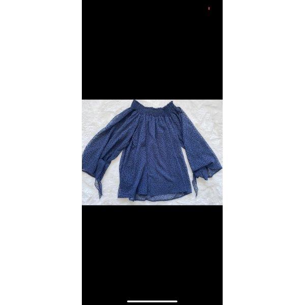 Zara bluse blau schulterfrei xs 34