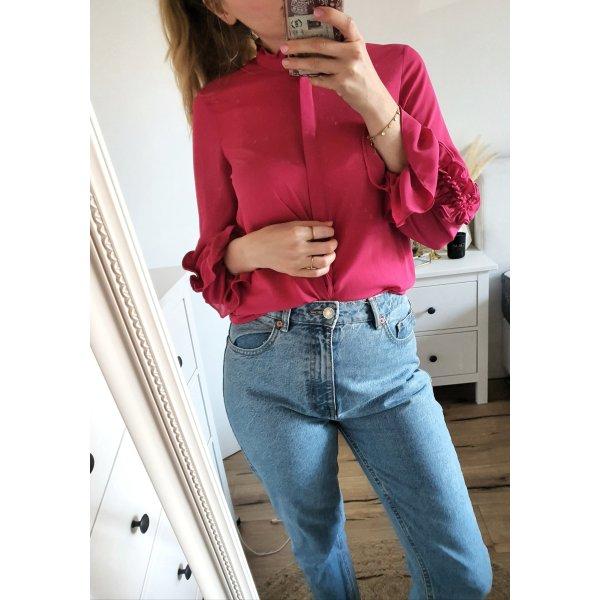 Zara Bluse Shirt Oberteil pink Rüschen XS