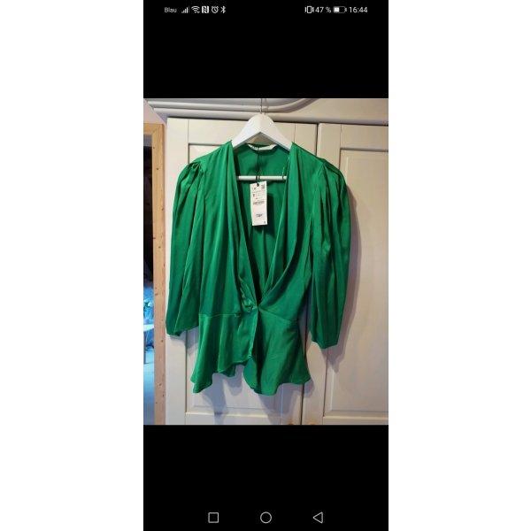 Zara Bluse Smaragd grün satin