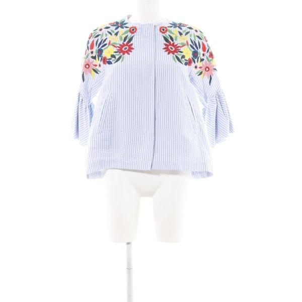 Zara Blusenjacke neonblau-weiß Blumenmuster Casual-Look