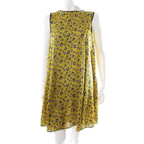 Zara Blusenkleid gelb-dunkelblau Allover-Druck Elegant