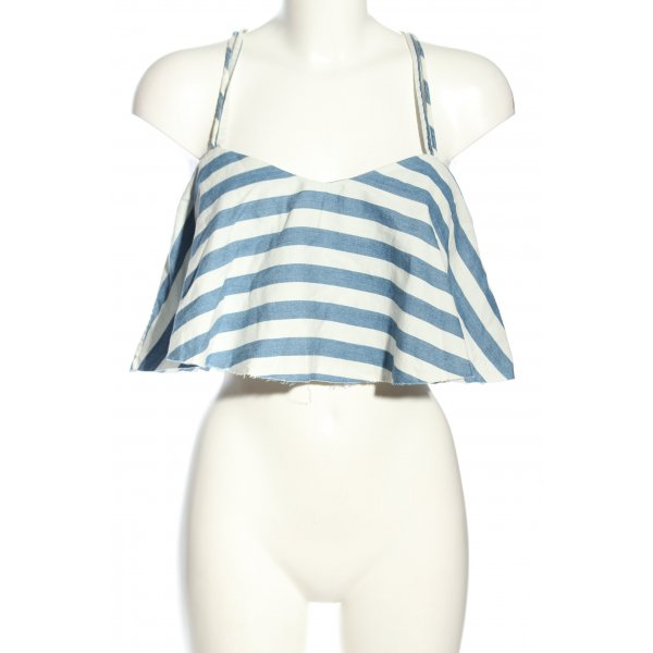 Zara Blusentop blau-weiß Allover-Druck Casual-Look