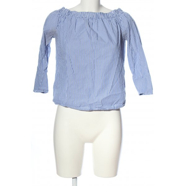 Zara Carmen-Bluse weiß-blau Streifenmuster Casual-Look