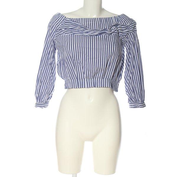 Zara Carmen-Bluse blau-weiß Streifenmuster Casual-Look