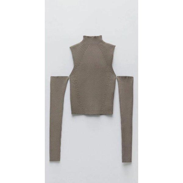 ZARA cut out Pullover gr S braun taupe neu mit Etikett