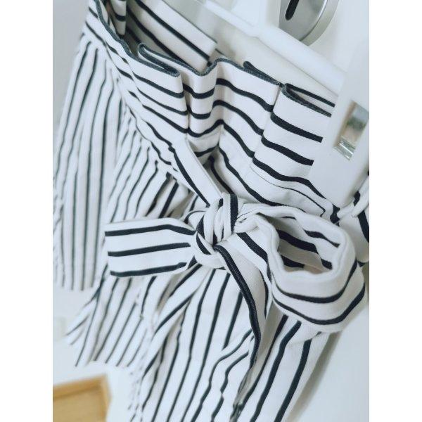 Zara Damen Shorts Blau-Weiß Gestreift mit Band am hoher Taille Gr.XS 34