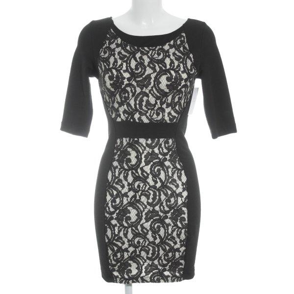Zara Etuikleid schwarz-wollweiß florales Muster Elegant