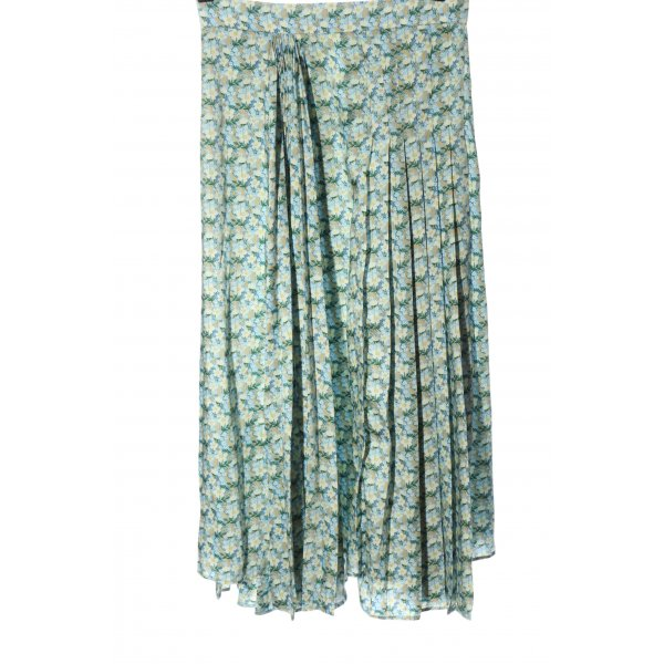 Zara Faltenrock blau-grün Allover-Druck Casual-Look