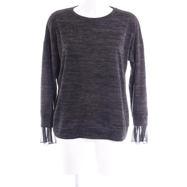 Zara Cardigan en maille fine gris anthracite-noir moucheté style décontracté