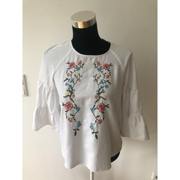 Zara Folklore Tunika mit Blumen Stickereien und Steinchen Neu wertig weiß S