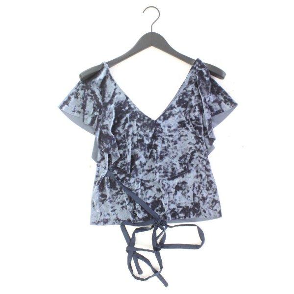 Zara Glanzbluse Größe S mit Gürtel Kurzarm blau