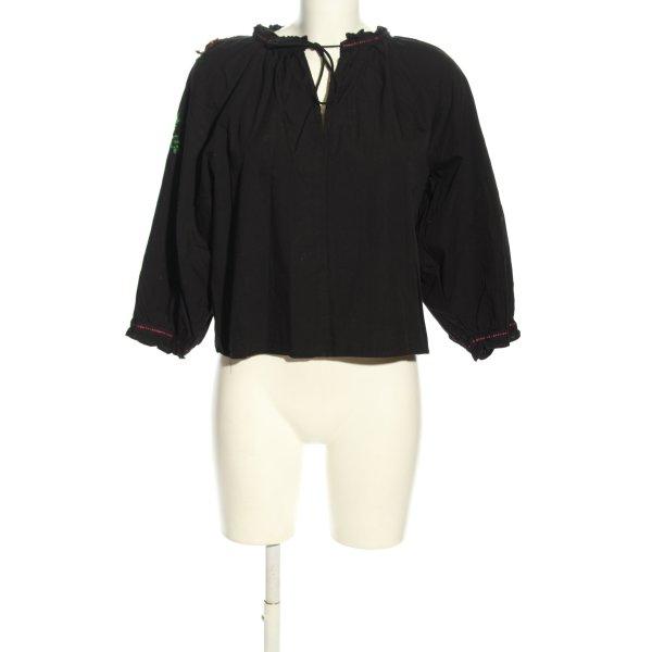 Zara Hemd-Bluse schwarz Blumenmuster Casual-Look