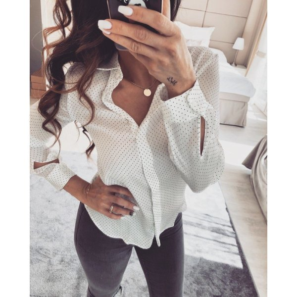 Zara Blouse-chemisier blanc-noir