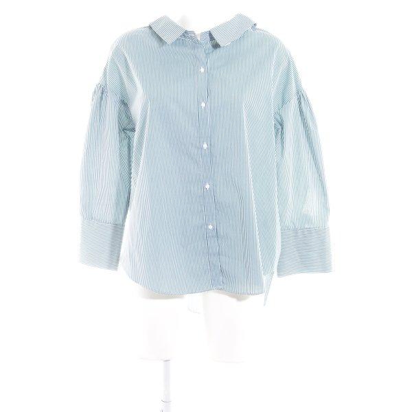 Zara Hemd-Bluse weiß-grün Streifenmuster Business-Look