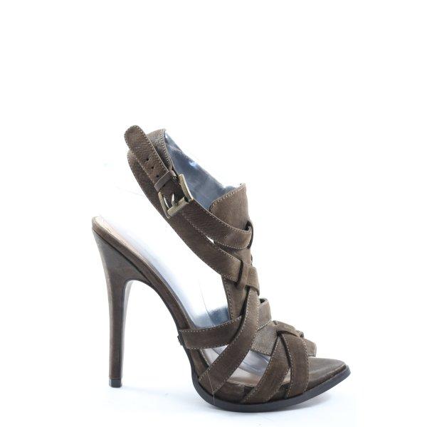 Zara High Heel Sandaletten braun Casual-Look